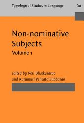 Non-nominative Subjects: Volume 1