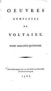 Œuvres complètes de Voltaire: Volume75