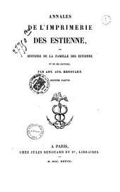 Annales de l'imprimerie des Estienne...