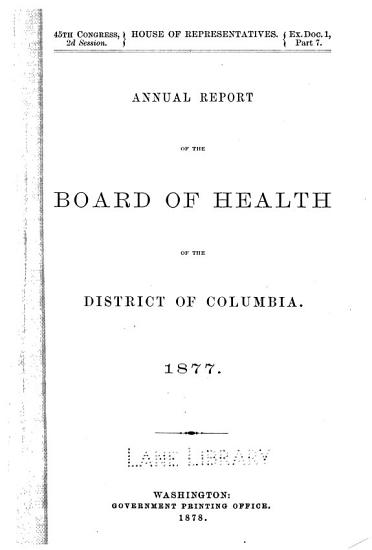 Report of the health officer of the District of Columbia  1877 PDF