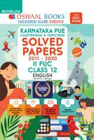 Oswaal Karnataka PUE Chapterwise   Topicwise Solved Papers  II PUC  Class 12  English  For 2021 Exam  PDF