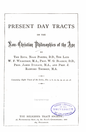 Present Day Tracts on the Non-Christian Philosophies of the Age