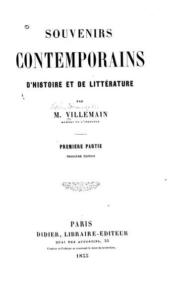 Download Souvenirs Contemporains D histoire Et de Litt  rature Book