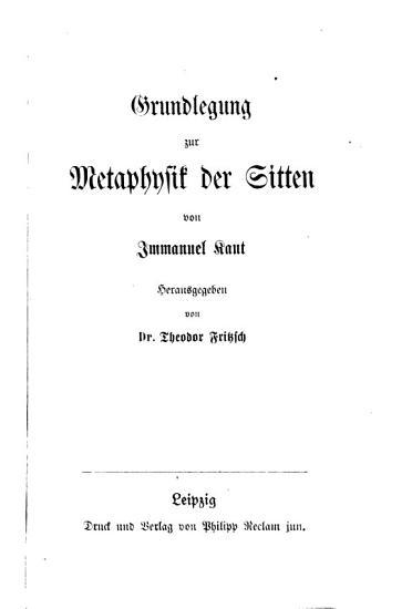 Grundlegung zur Metaphysik der Sitten PDF