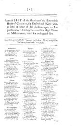 An Exact List of the Members of the Honourable House of Commons, for England and Wales, who, in some or other of the questions upon the Impeachment of Dr Henry Sacheverell for high crimes and misdemeanors [sic], voted for and against him