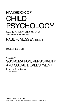 Handbook of Child Psychology: Socialization, personality, and social development