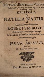 Epistola de natura naturae, ad R. Boyle