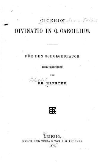 Divinatio in Q  Caecilium PDF