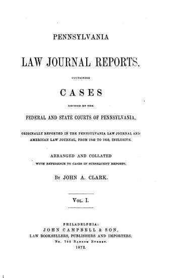 Pennsylvania Law Journal Reports PDF