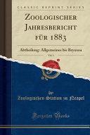 Zoologischer Jahresbericht Fur 1883  Vol  1 PDF