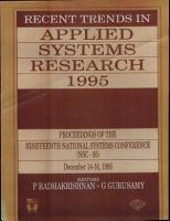 Recent Trends In Applied Systems Research 1995 PDF