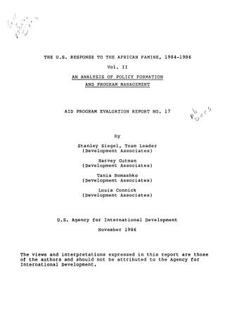The U S  Response to the African Famine  1984 1986  An analysis of policy formation and program management PDF