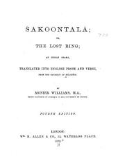 Śakoontalá; Or, The Lost Ring: An Indian Drama