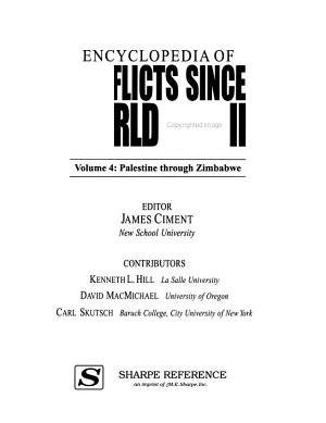 Encyclopedia of Conflicts Since World War II  Palestine Zimbabwe PDF