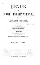 Revue de droit international et de législation comparée: Volume5