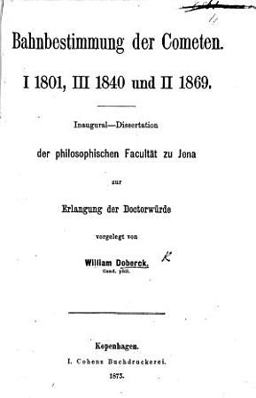 Bahnbestimmung der Cometen PDF