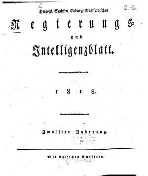 Herzogl  Sachsen Coburg Saalfeldisches Regierungs  und Intelligenzblatt PDF