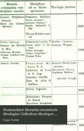Nomenclator literarius recentioris theologiae Catholicae theologos exhibens ... aetate, natione, disciplinis distincts