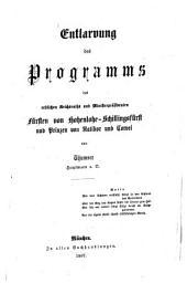 Entlarvung das Programms des erblichen Reichsraths und Ministerpräsidenten Fürsten von Hohenlohe-Schillingsfürst und Prinzen von Ratibor und Corvei
