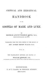 Critical and Exegetical Handbook to the Gospels of Mark and Luke: Volume 2