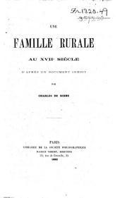 Une famille rurale [Beauvoir] au xviie siècle: d'après un document inédit