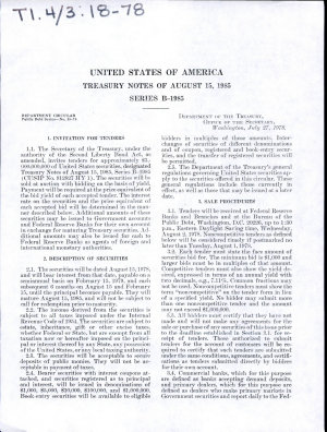 United States of America Treasury Notes of August 15  1985 Series B 1985 PDF