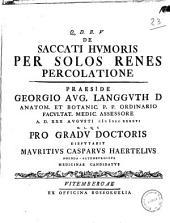 De saccati humoris per solos renes percolatione praeside Georgio Aug. Langguth ... A. D. 30. augusti 1746. ... pro gradu doctoris disputabit Mauritius Casparus Haertelius ... medicinae candidatus