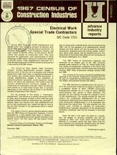 1967 Census of Construction Industries: Advance industry reports. Electrical work special trade contractors, SIC code 1731, Volume 3