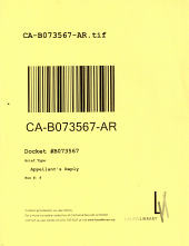 California. Court of Appeal (2nd Appellate District). Records and Briefs: B073567, Appellant's Reply