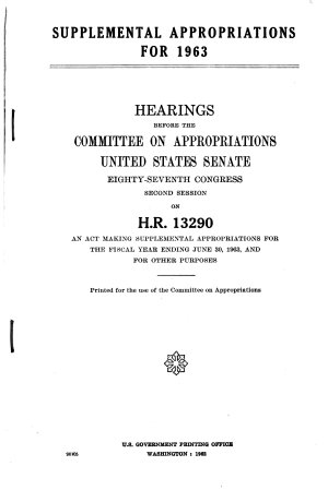 Supplemental Appropriations for 1963