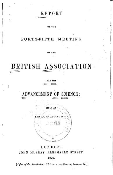 Download Report of the     Meeting of the British Association for the Advancement of Science Book