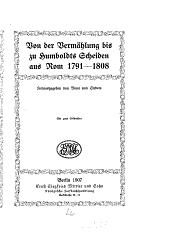Wilhelm und Caroline von Humboldt in ihren briefen: Band 2