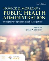 Novick   Morrow s Public Health Administration  Principles for Population Based Management PDF