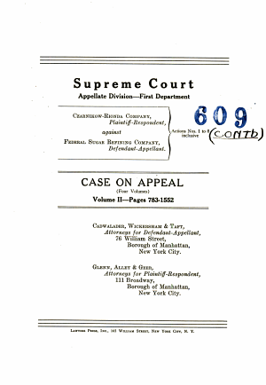 Supreme Court Appellate Division First Department Case On Appeal Volume II Pages 783 1552 PDF