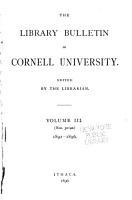 The Library Bulletin of Cornell University PDF