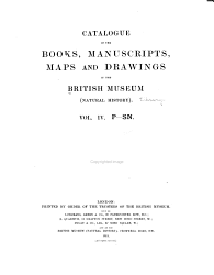 Catalogue of the Books  Manuscripts  Maps and Drawings in the British Museum  Natural History      PDF