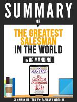 Summary Of  The Greatest Salesman In The World   By Og Mandino  PDF