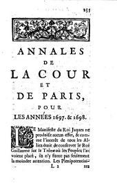 Annales de la cour et de Paris pour les années 1697 & 1698: Volume2
