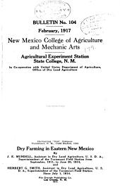 Bulletin - Agricultural Experiment Station, New Mexico College of Agriculture and Mechanic Arts: Issues 104-121