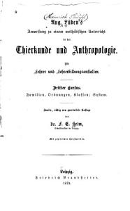 Anweisung zu einem methodischen unterricht in der thierkunde und anthropologie PDF
