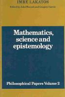 Mathematics  Science and Epistemology  Volume 2  Philosophical Papers PDF
