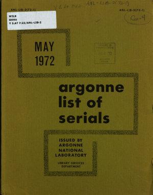 Argonne List of Serials PDF