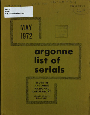Argonne List of Serials PDF