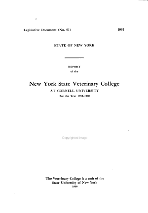 Report of the New York State Veterinary College for the Year     PDF