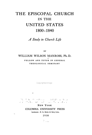 The Episcopal Church in the United States  1800 1840