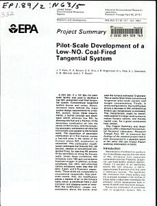 Pilot scale Development of a Low NOx Coal fired Tangential System PDF