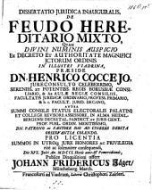 Dissertatio juridica inauguralis de feudo hereditario mixto