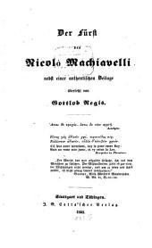 Der Fürst des Nicolò Machiavelli: nebst einer authentischen Beilage
