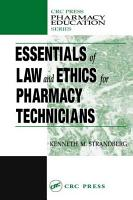 Essentials of Law and Ethics for Pharmacy Technicians PDF