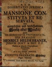 Dissertatio Iuridica De Mansione Constituta Et Reservata